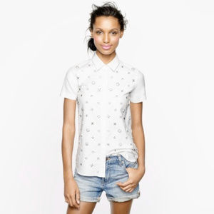 J Crew Collection Beaded Button Down Shirt White 4